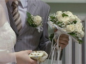 Bride and groom with wedding bouquet Stock Footage