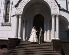 Bride and bridegroom having comes from registry office Stock Footage