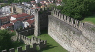 Stock Video Footage of Preserved castle wall