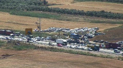Druze protest gas pipeline on disputed land Stock Footage