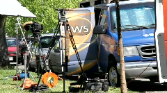 TV News ENG Trucks Stock Footage
