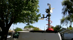 Raising Mast on News Van Stock Footage