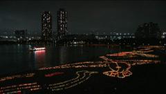 Odaiba Bay and Rainbow Bridge. Tokyo, Japan. Sea day celebration Stock Footage