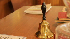 Student rining bell in antique school house - stock footage