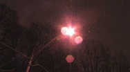 Pink snow streetlight. Two shots. Stock Footage