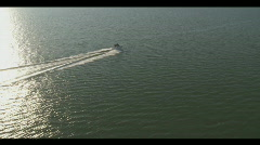 Aerial Boat Underway Sunset - stock footage