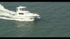 Aerial Sport Fish Boat Underway Close Forward - stock footage