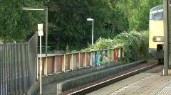 Train arriving at sation, Voorschoten, the Netherlands Stock Footage