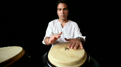 Congo bongo drum percussion cuban drummer man music party hands Stock Footage