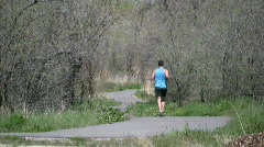 Guy Running On Parkway Stock Footage