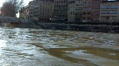 The river Saône flows through Lyon, France Stock Footage