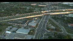Aerial Interstate 4 Flowing Traffic Overpass Stock Footage