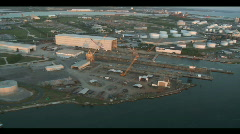 Aerial Tampa Shipping Port Fuel Depot Stock Footage