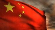 (1187) Communist China Flag Politics Sunrise Sunset Chinese Red Stars Stock Footage