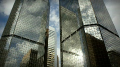 (1185) City Skyscrapers Urban Office Buildings Architecture Timelapse Cloud LOOP Stock Footage