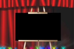 5332 easel picture video frame red theater curtain stage lights  Stock Footage