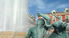 Fountain at Massena place, Nice, France Stock Footage