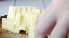 Picking Up Completely Pineapple Pieces  Stock Footage