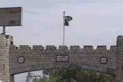 Pakistan Flag at the Khyber Pass Gate - stock footage