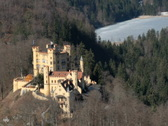 Castle Hohenschwangau from above Stock Footage