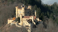 Stock Video Footage of Castle Hohenschwangau from above