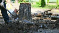 Man diging stump Stock Footage