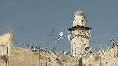 Minaret and Israeli Flag  Stock Footage