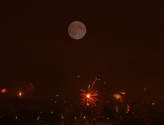 Time-lapse of New Year switch fireworks and full moon over the city 2 (Cinema 2K Stock Footage