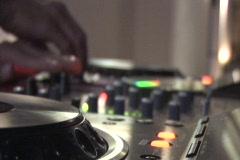 DJ Spins Turntables Stock Footage