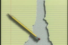 0440 Notebook paper pencil  - stock footage