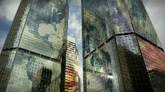 (1186) City Skyscrapers Business Office Building Architecture International Flag Stock Footage