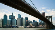 Stock Video Footage of Time lapse of downtown NYC under Brooklyn Bridge
