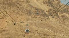 Masada aerial tramway 2 Stock Footage