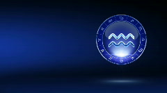 Aquarius blue zodiacal symbol on mystic-styled background Stock Footage