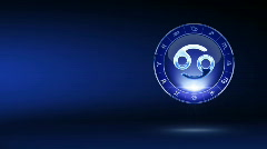 Cancer blue zodiacal symbol on mystic-styled background Stock Footage