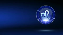 Leo blue zodiacal symbol on mystic-styled background - stock footage
