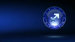 Blue sagittarius zodiacal symbol with background Stock Footage