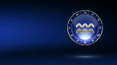 golden aquarius zodiacal symbol with background - stock footage