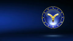 golden aries zodiacal symbol with background - stock footage