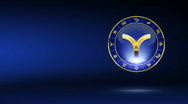 Golden aries zodiacal symbol with background Stock Footage