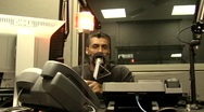 Stock Video Footage of Radio Station Broadcaster - Man in Microphone 2