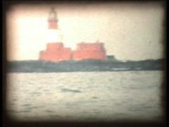 Retro Cine - Scotish coast with lighthouse Stock Footage