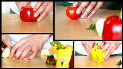 Slicing vegetables - preparing salad montage Stock Footage
