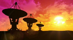 Satellite dish antennas at sunset  Stock Footage