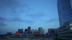(1188) Downtown City Sunset Buildings Skyline Train Station HDR - stock footage