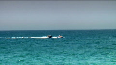 Two speed boats over the waves - stock footage