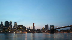 Downtown NYC skyline day to night time lapse Stock Footage