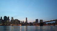 Stock Video Footage of downtown NYC skyline day to night time lapse