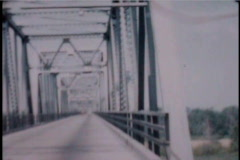 Crossing Mississippi 1950's Bridge Cars - stock footage
