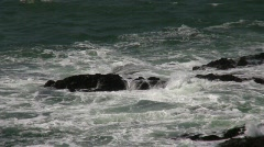 Waves Rocks Quick Zoom In Stock Footage